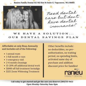 Ranieu's Dental Savings Plan Flyer