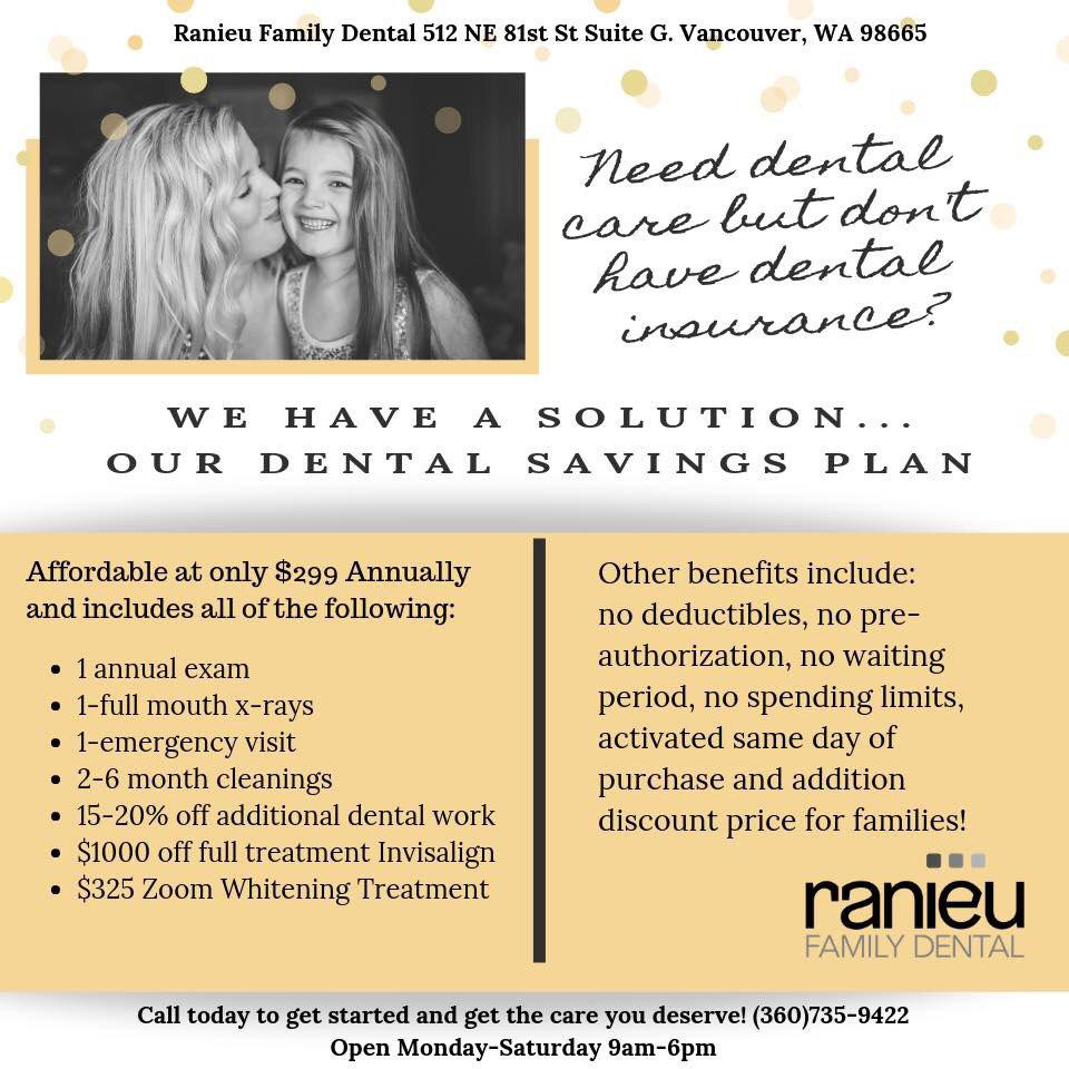 Ranieu's Dental Savings Plan Flyer